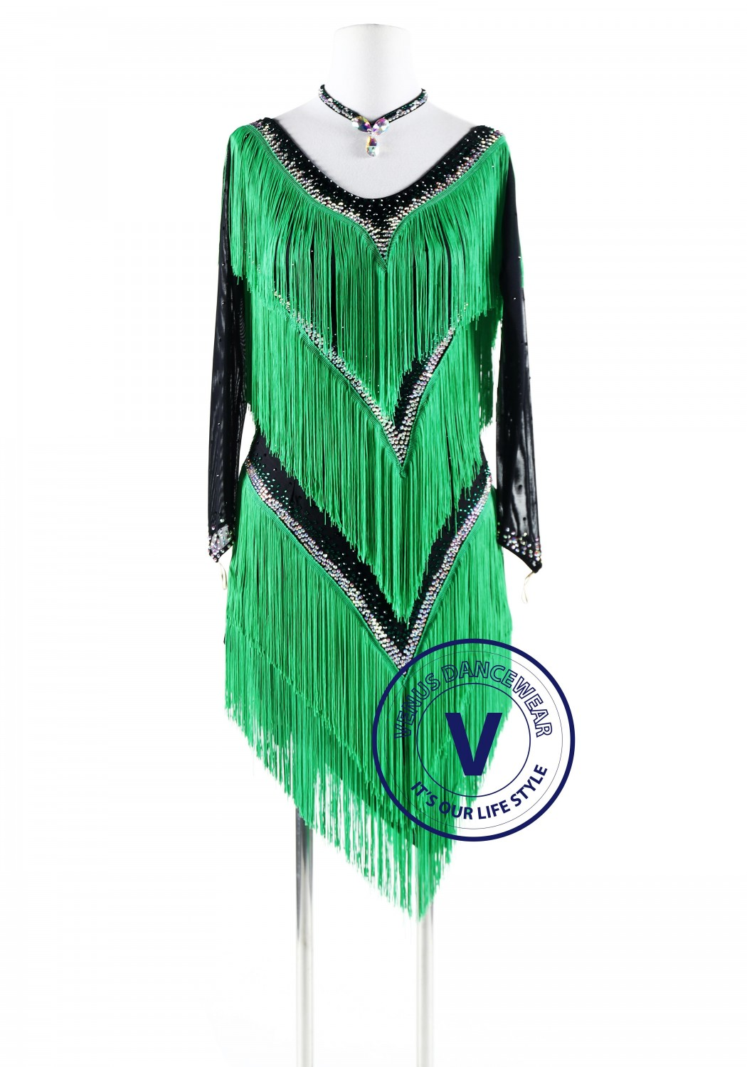 Four Layers Green Fringe Latin Rhythm Competition Dance Dress
