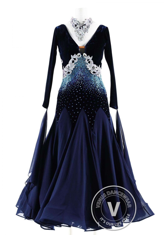 Midnight Sky Velvet Ballroom Competition Dance Dress