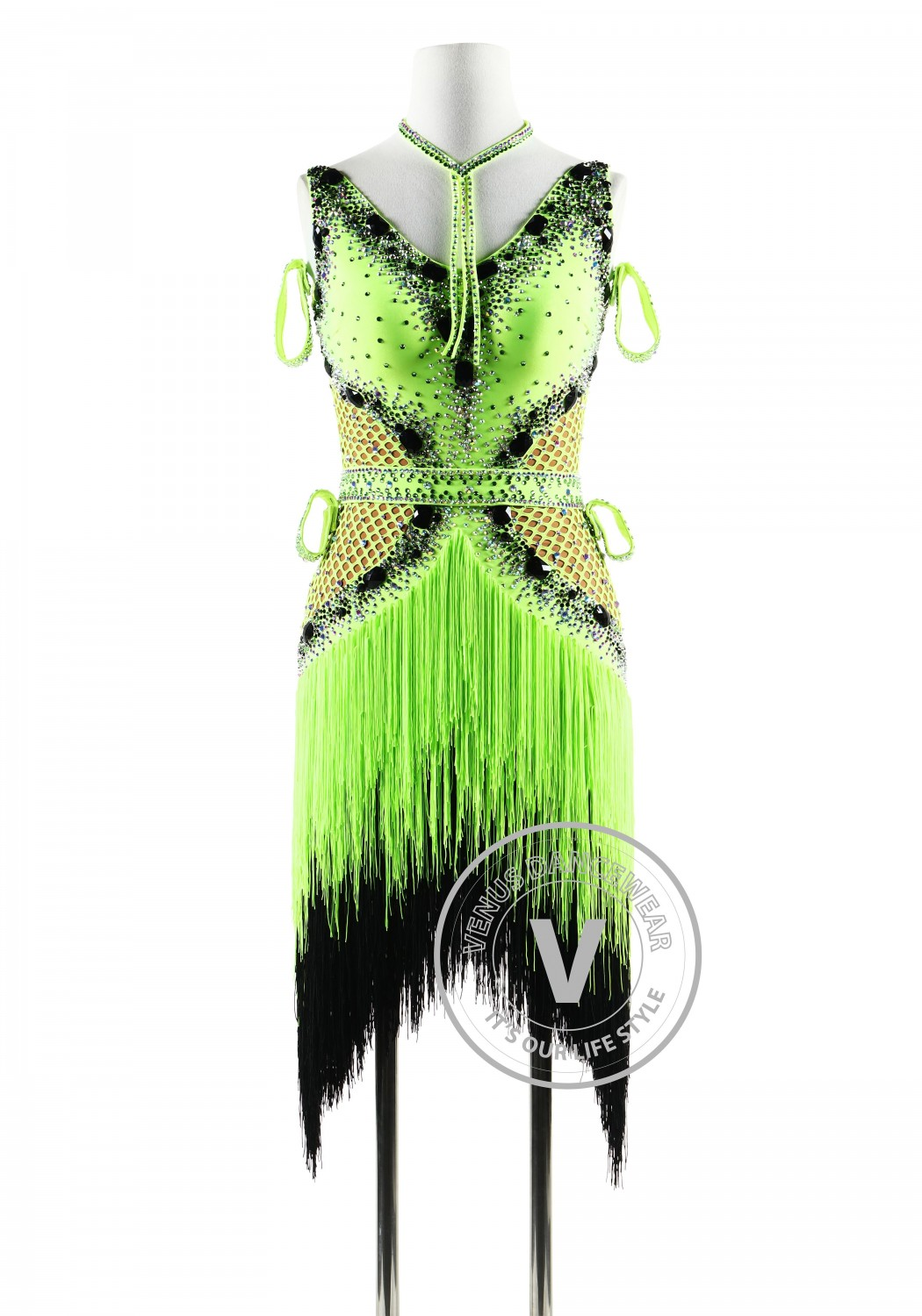 Lime Green Fishnet with Fringe Latin Rhythm Competition Dance Dress