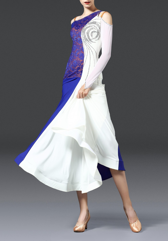 White Luxury Crocheted Crepe Ballroom Smooth Practice Dance Dress