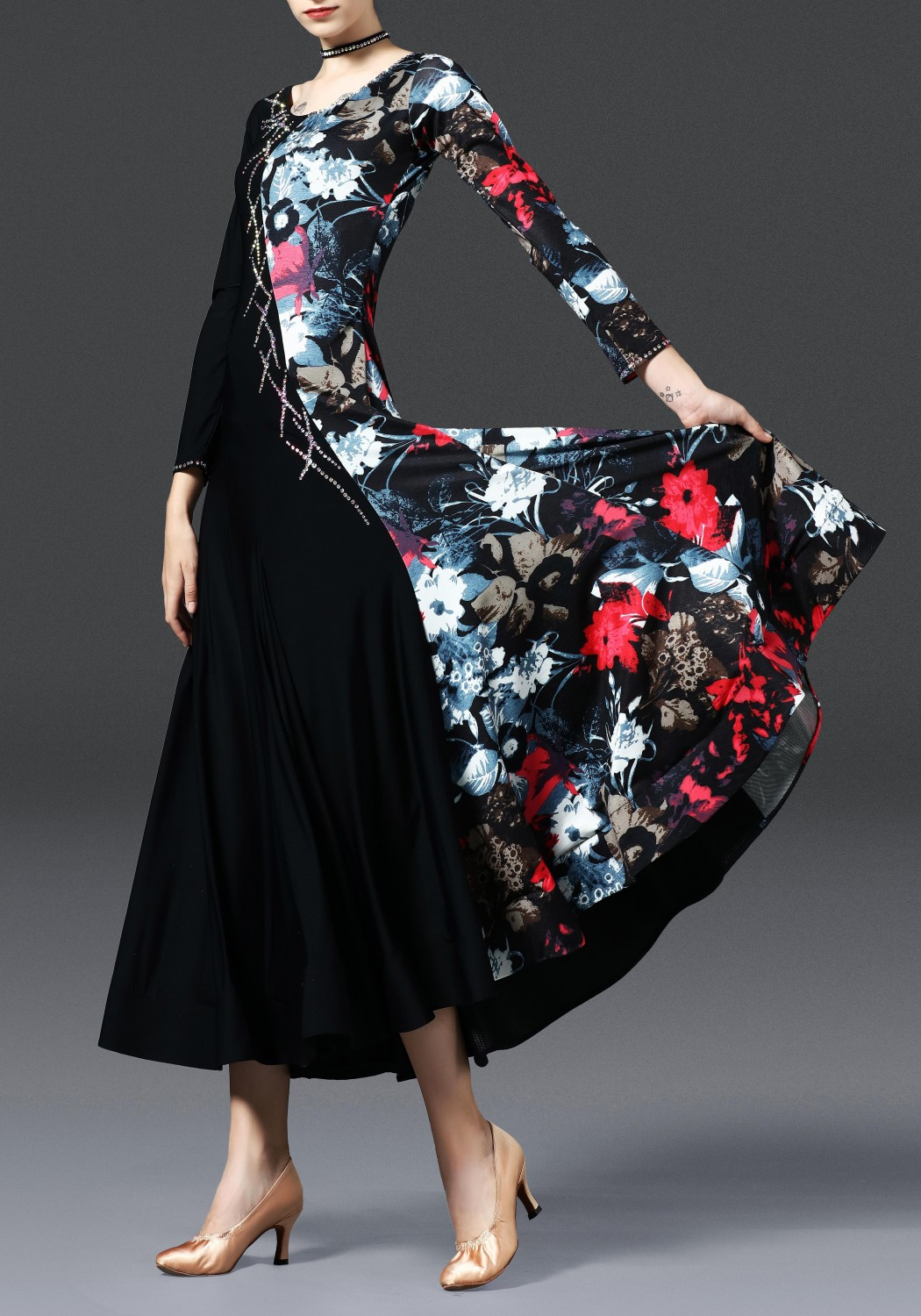 Black with Floral Pattern Long Sleeves Ballroom Smooth Practice Dance Dress