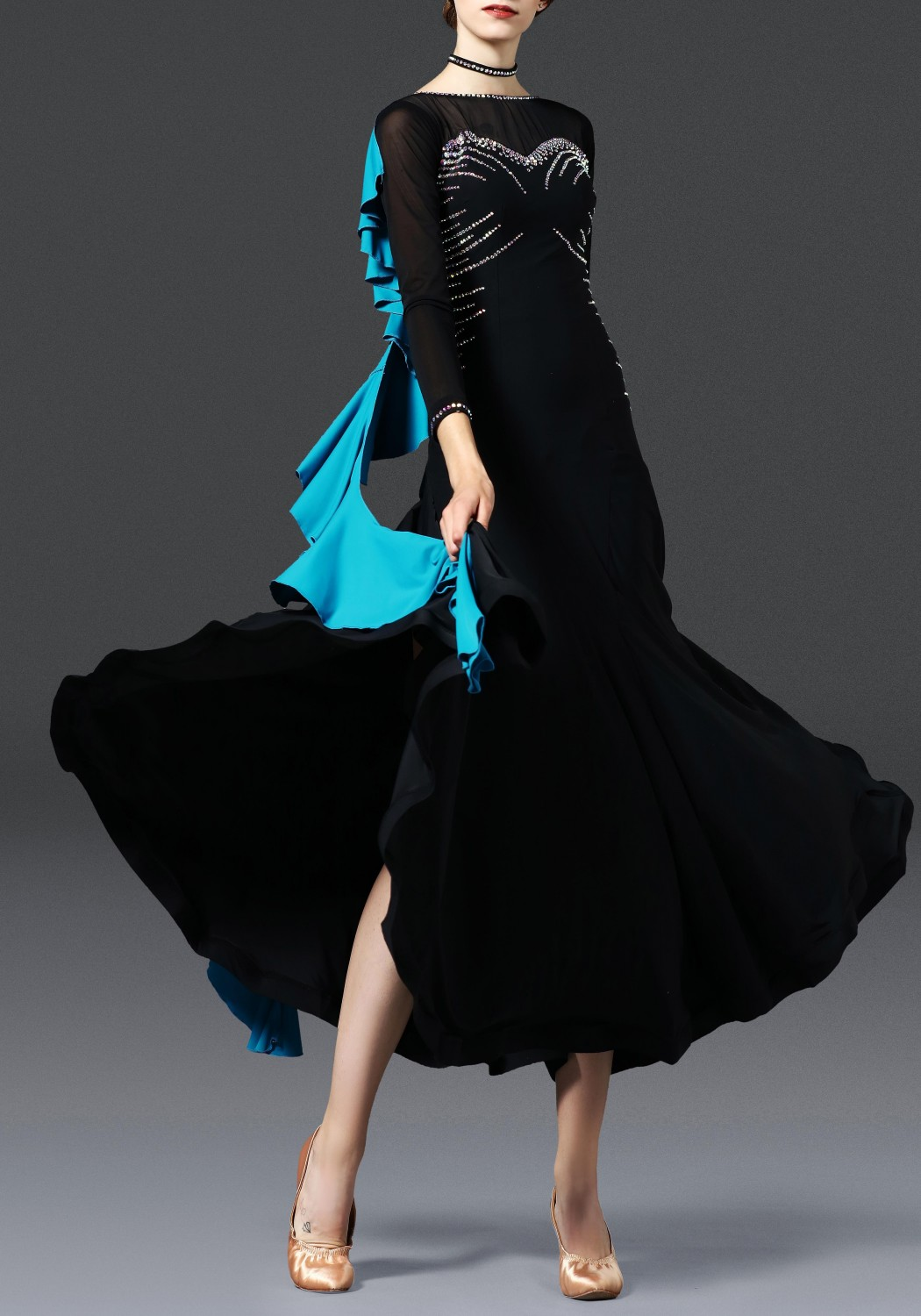 Black with Turquoise Ballroom Smooth Practice Dance Dress