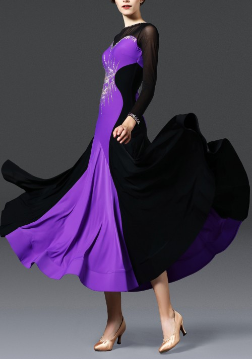 Black with Royal Purple Ballroom Smooth Practice Dance Dress