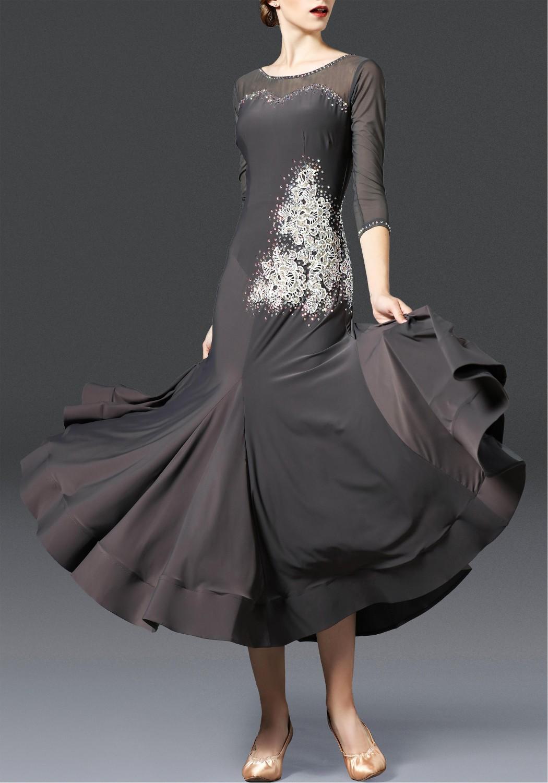 Hematite Luxury Crepe with White Flower Ballroom Smooth Practice Dance Dress