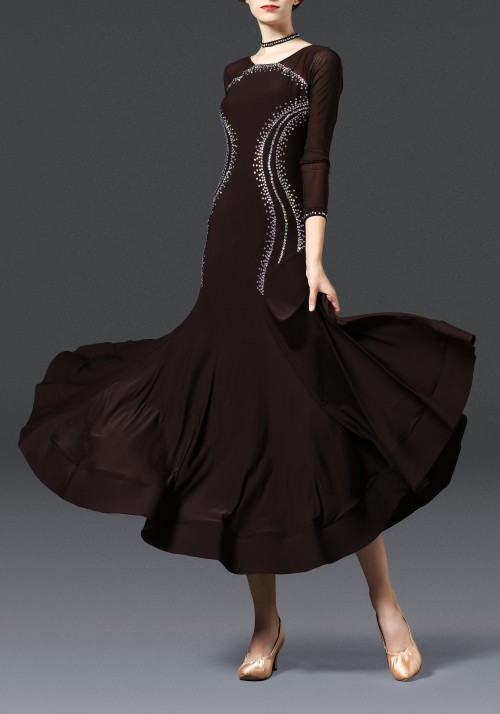 Chocolate with Back Opening Luxury Crepe Ballroom Smooth Practice Dance Dress