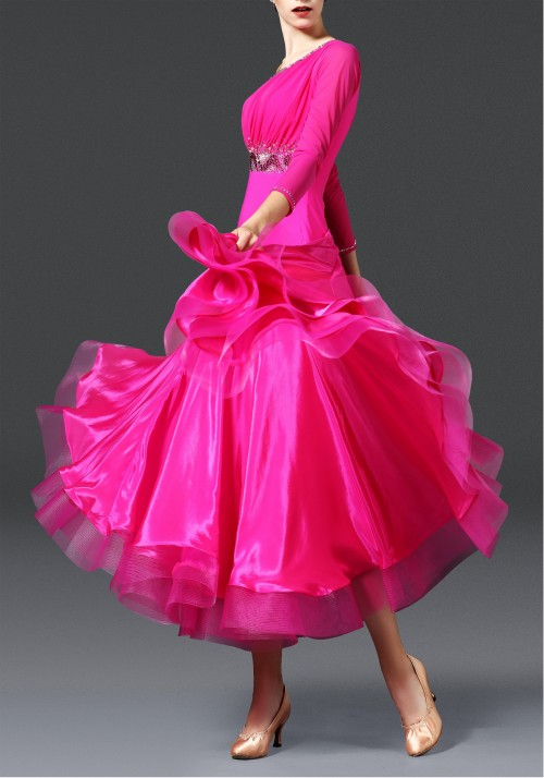 Magenta 2 Layers Pearl Silk Ballroom Smooth Practice Dance Dress