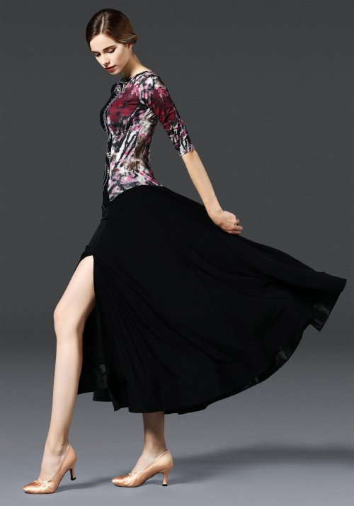 Black Floral Pattern Ballroom with Slit Smooth Practice Dance Dress