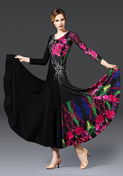 Black Floral Pattern Ballroom Smooth Practice Dance Dress