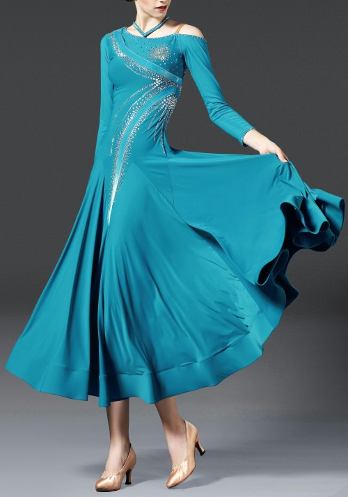 Luxury Crepe Turquoise Ballroom Smooth Practice Dance Dress