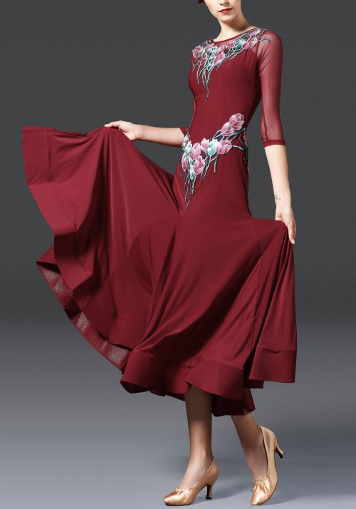 Burgundy Floral Luxury Crepe Ballroom Smooth Practice Dance Dress