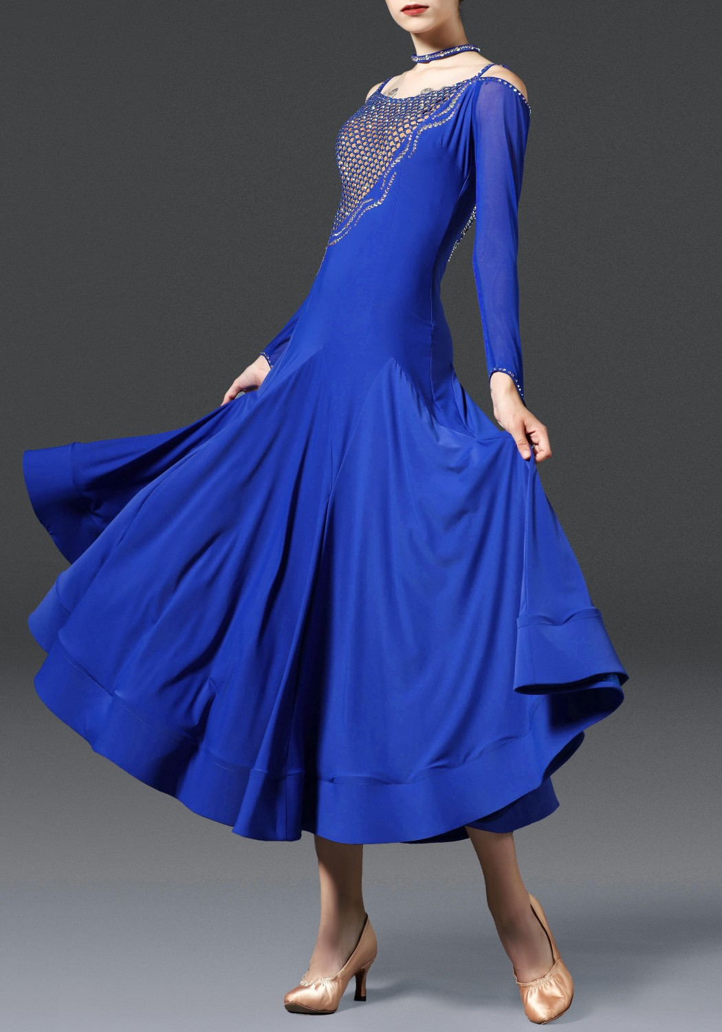 Royal Blue Luxury Crepe with Lace Ballroom Smooth Practice Dance Dress