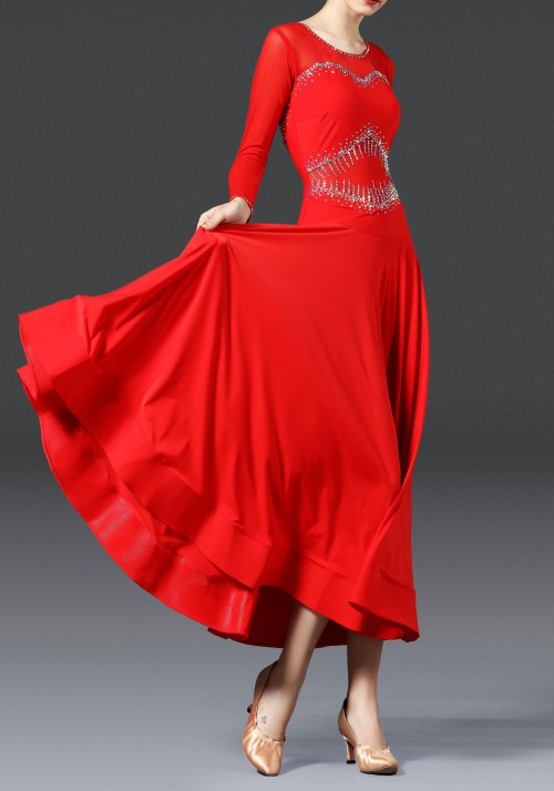 Luxury Crepe Red Stoned Ballroom Smooth Practice Dance Dress