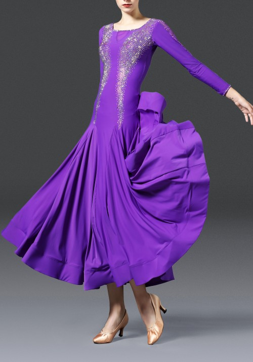 Royal Purple Luxury Crepe with Lace Ballroom Smooth Practice Dance Dress