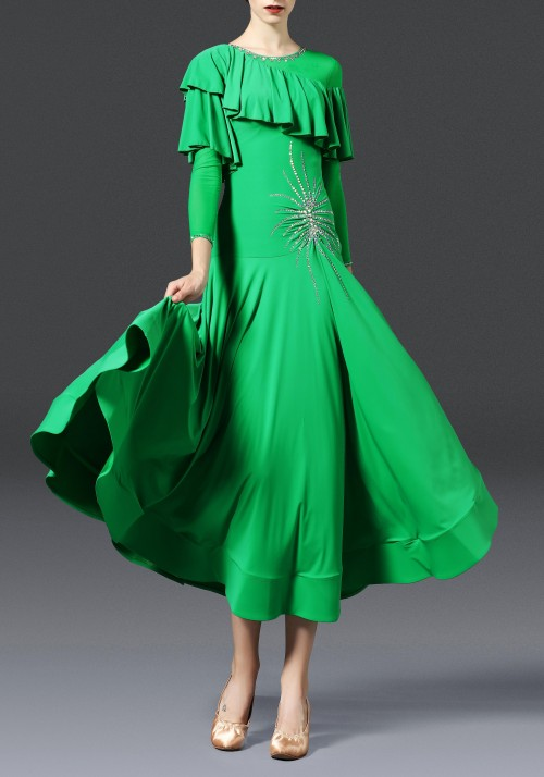 Green Luxury Crepe with Ruffled Ballroom Smooth Practice Dance Dress