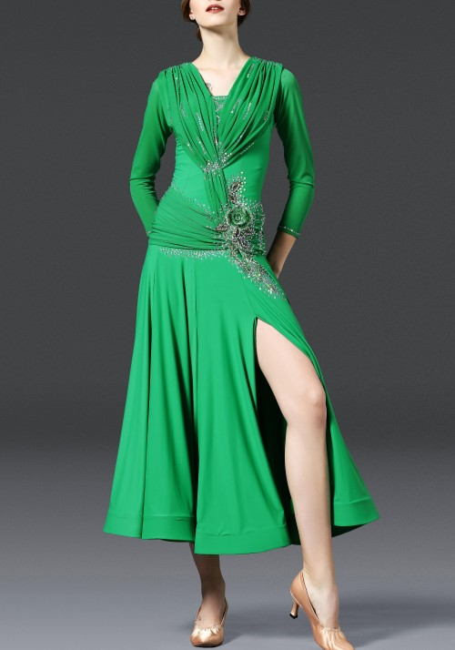 Green Luxury Crepe Ruffled with Slit Lace Ballroom Smooth Practice Dance Dress