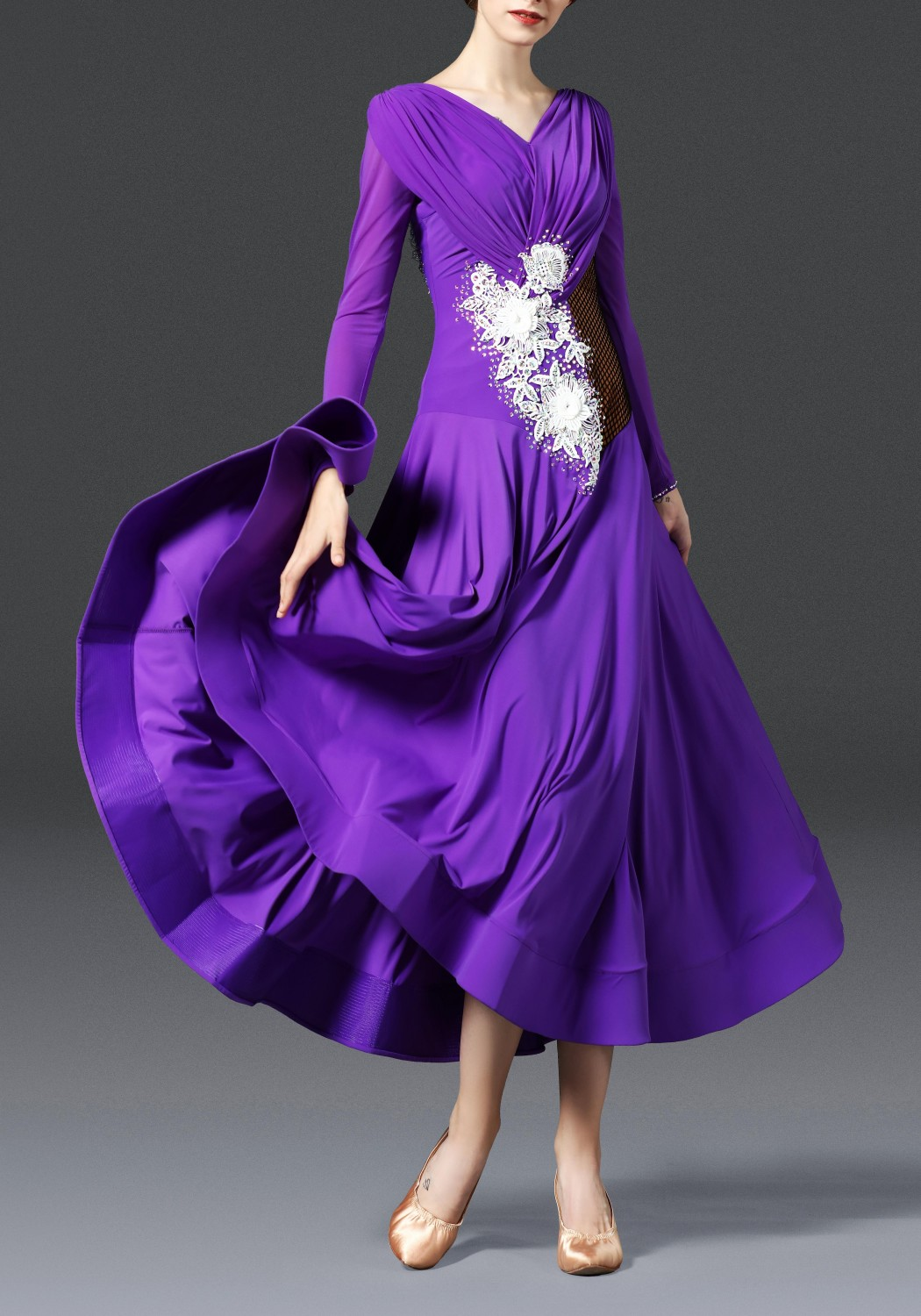 Royal Purple with White Flower Ballroom Smooth Practice Dance Dress