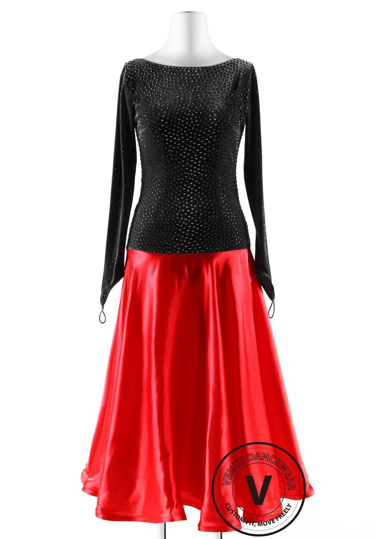 Dark Gray Velvet and Red Silk Skirt Ballroom Competition Dance Dress