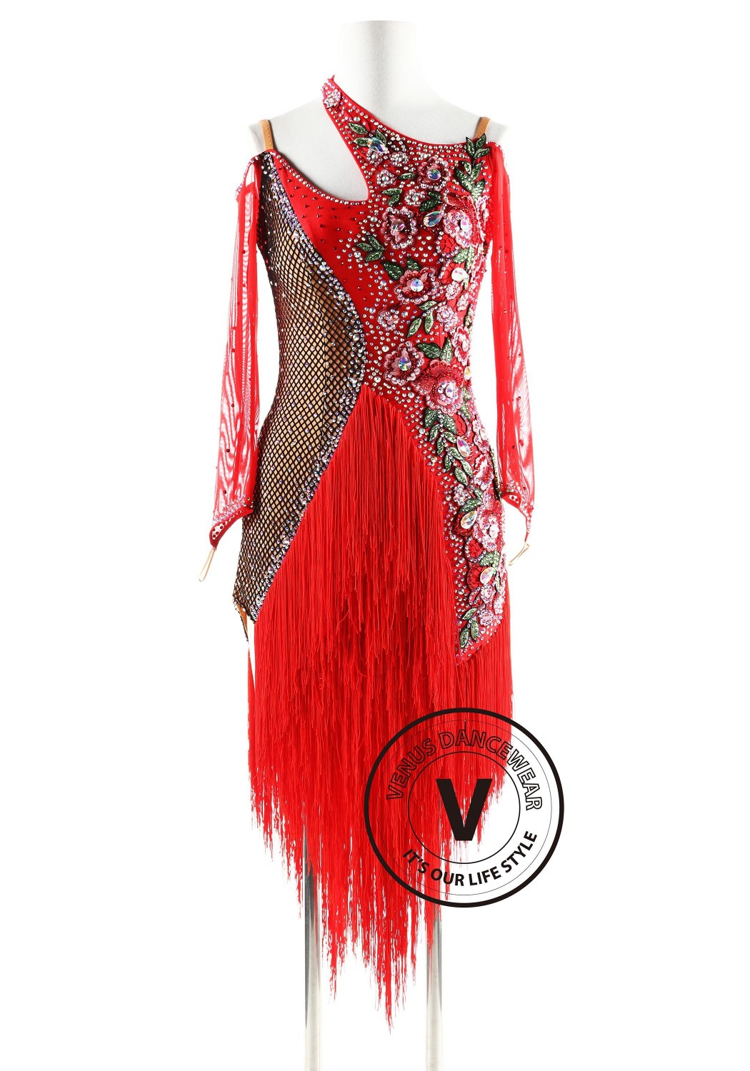 Halter Neck Fishnetting and fringe Latin Rhythm Competition Dance Dress