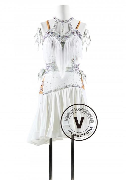 Halter Neck White Color Fringe Latin Rhythm Competition Dance Dress