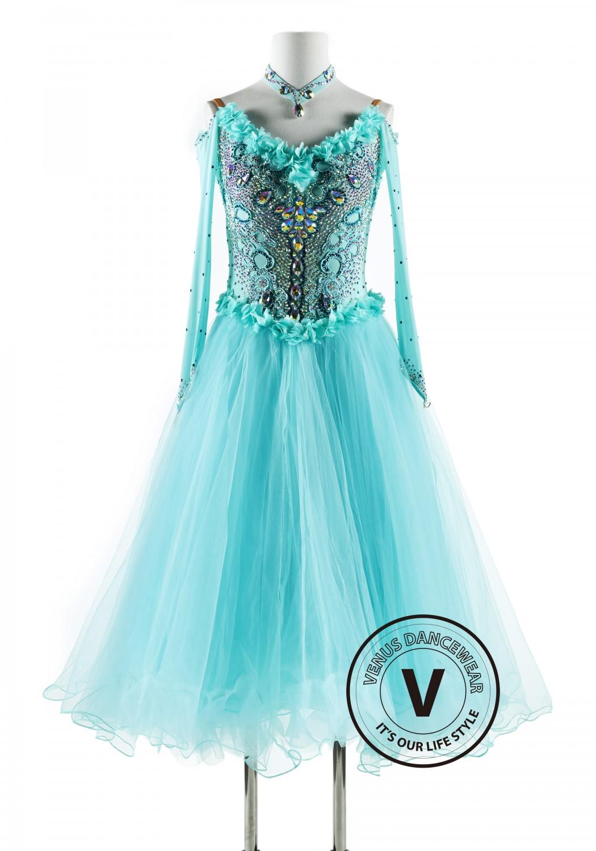 Light Aqua Ballroom Competition Dance Dress