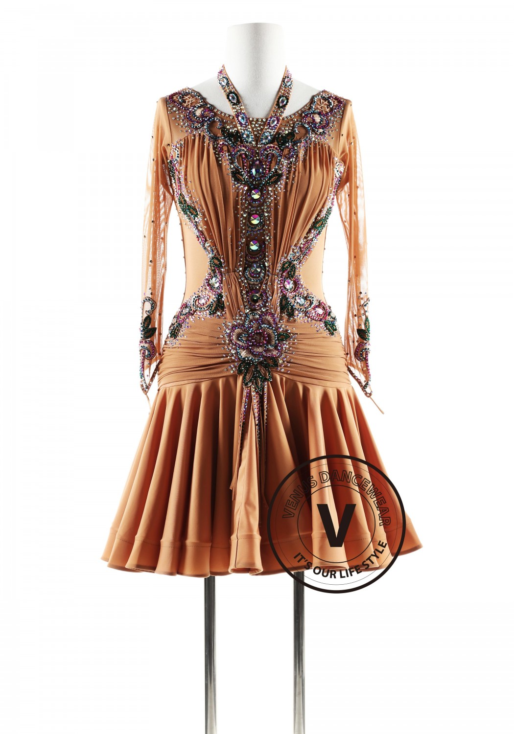 Dark Brown with Fuschia Crystals Latin Rhythm Competition Dance Dress