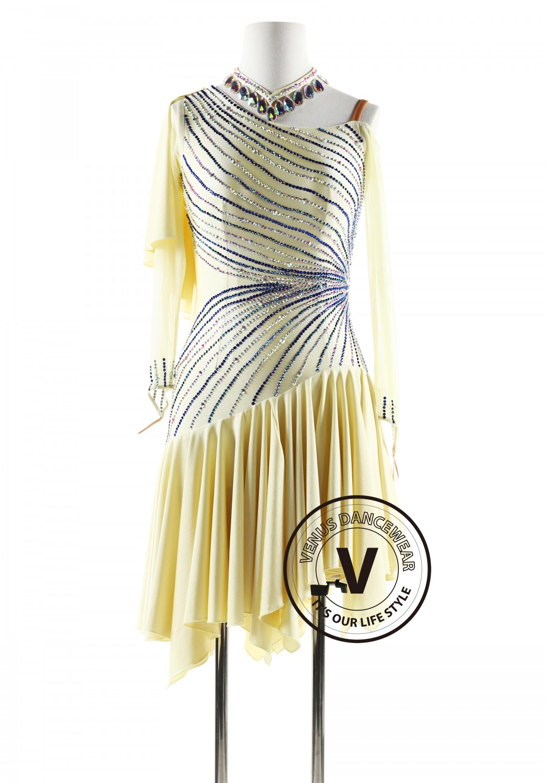 Cream Flounce Latin Rhythm Competition Dance Dress