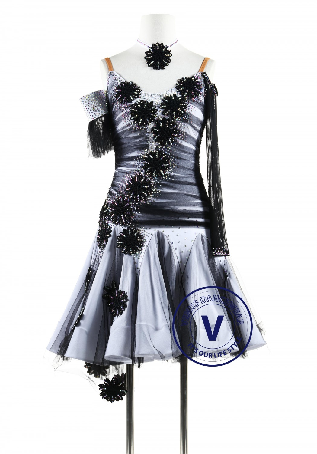 White and Black Appliques Latin Rhythm Competition Dance Dress