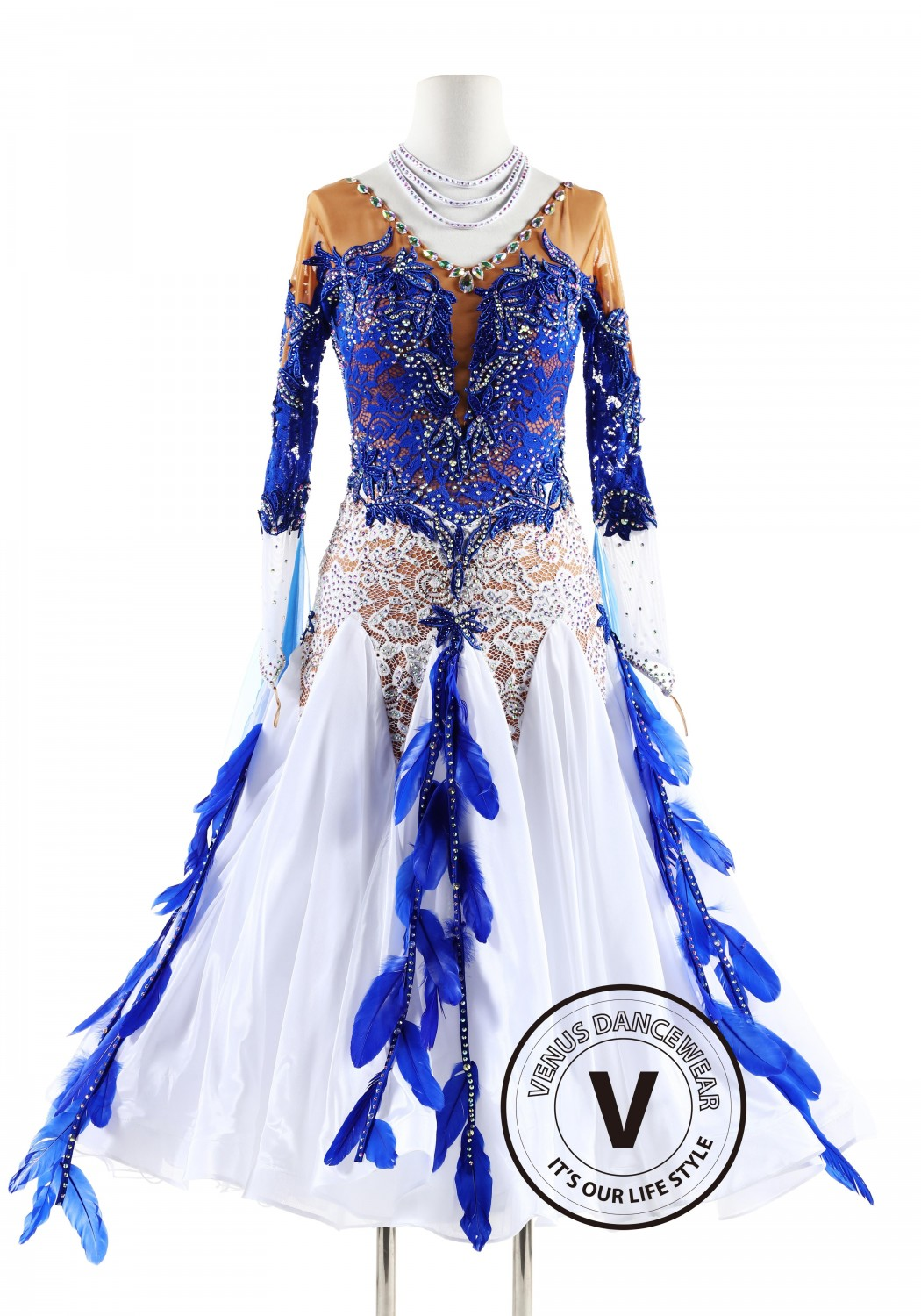 Blue and White Lace Feather Ballroom Smooth Competition Dance Dress