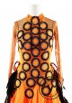 Orange with Black Feather Ballroom Smooth Competition Dance Dress