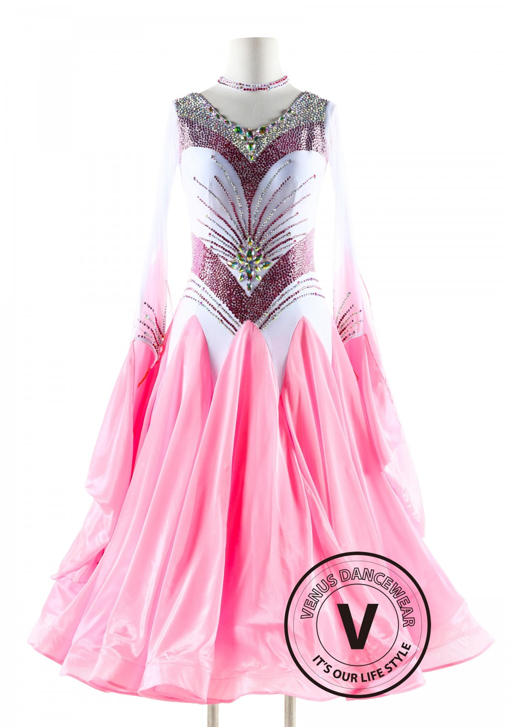 Pink and White Ballroom Smooth Competition Dance Dress