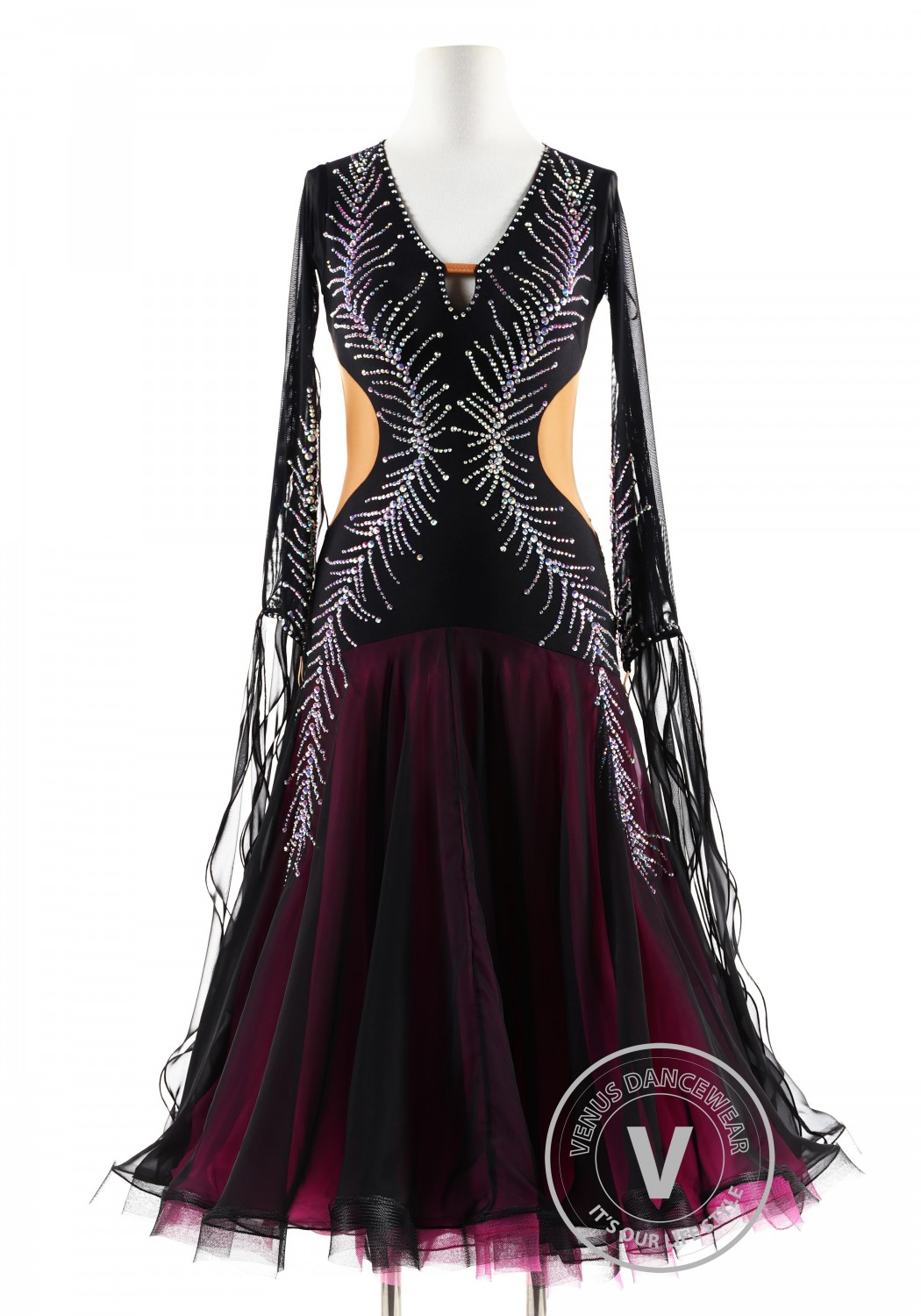 Black gown with crystal Peacock feather Ballroom Smooth Competition Dance Dress