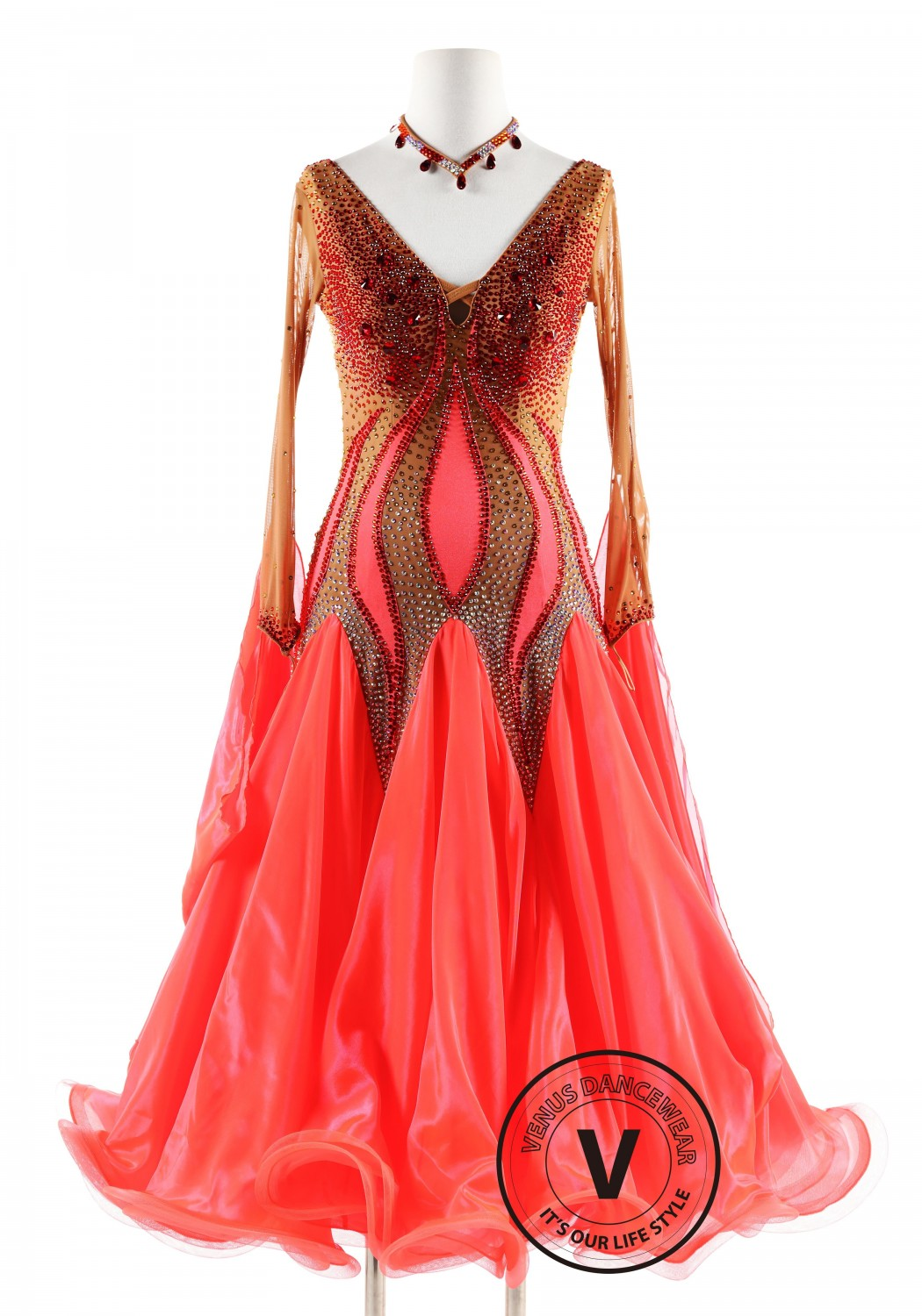 Royal Blue Gown with White feather Ballroom Smooth Competition Dance Dress