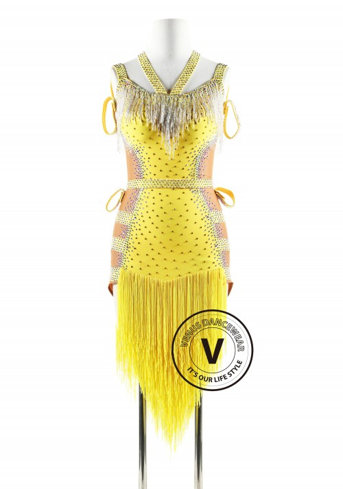 Yellow fringe with beading cubes Latin Rhythm Competition Dance Dress