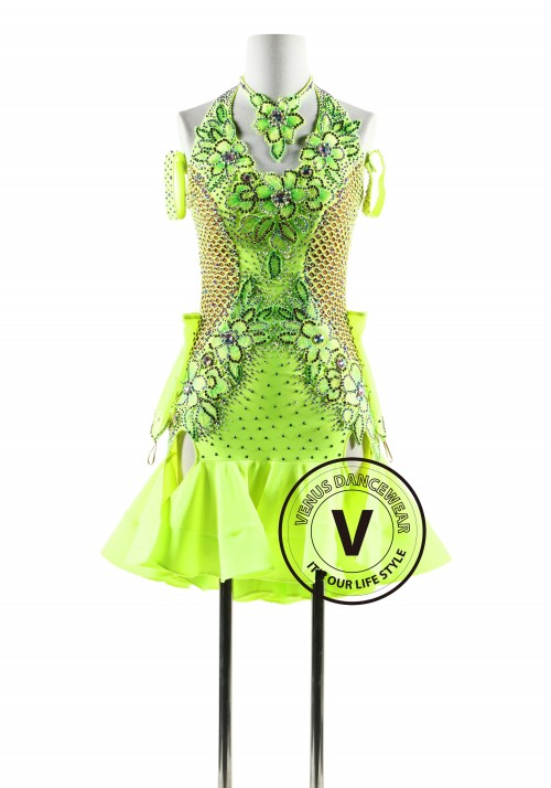 Neo Green Netting Latin Rhythm Competition Dance Dress