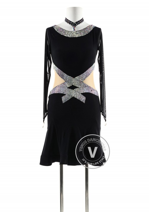 Black with beading belt Latin Rhythm Competition Dance Dress