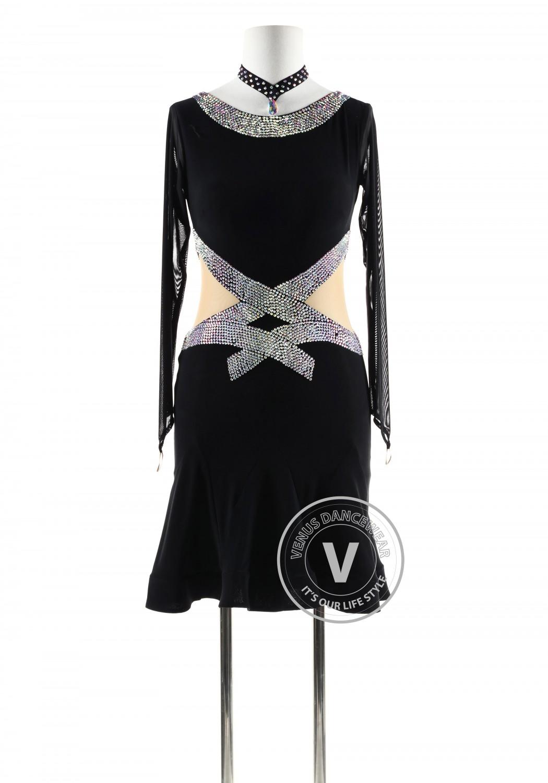 Black with beading belt Latin Rhythm Competition Dance Dress