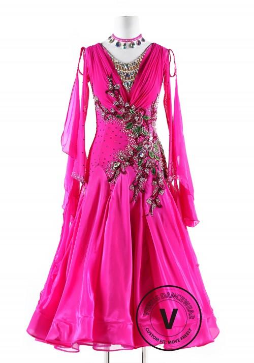 Winter Sweet Magenta Ballroom Smooth Competition Dance Dress