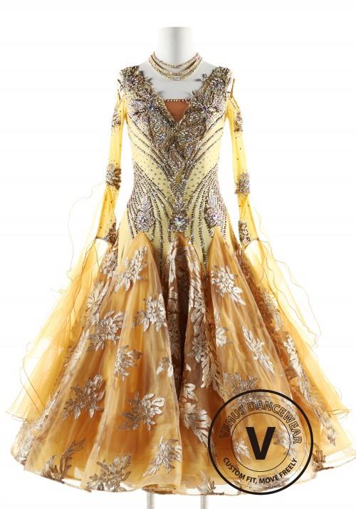 Royal Golden Color Ballroom Smooth Competition Dance Dress