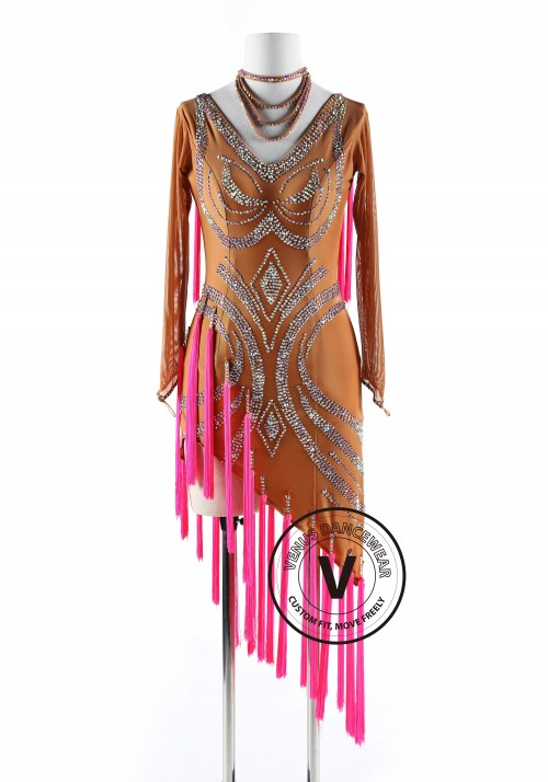 Tan and Pink Tassels Latin Rhythm Competition Dance Dress