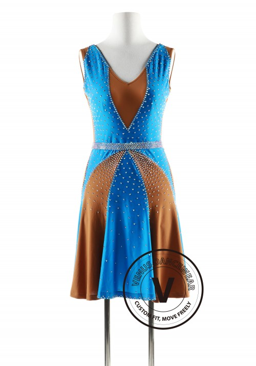 Blue and Tan Latin Rhythm Competition Dance Dress