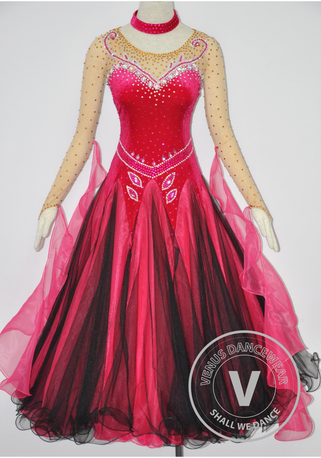 Red Velvet Elegant Women Ballroom Tango Waltz Standard Smooth Quickstep Competition Gown