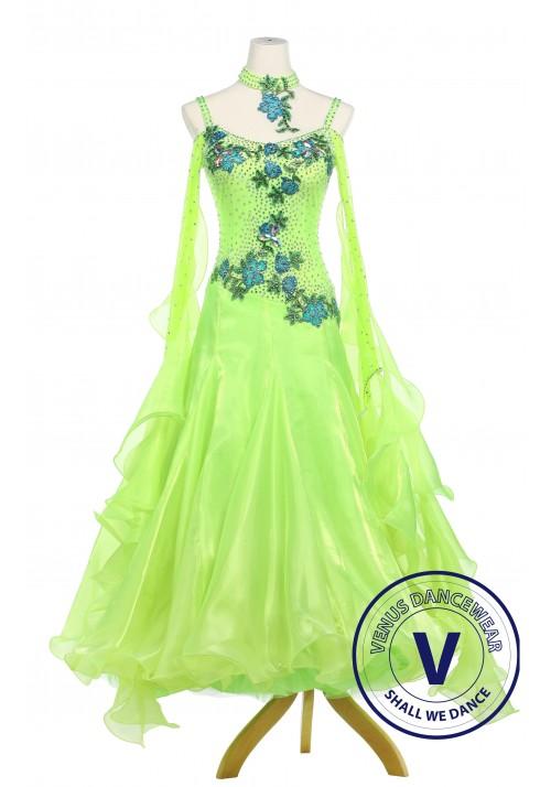 Grass Green Smooth Standard Ballroom Dance Competition Dress