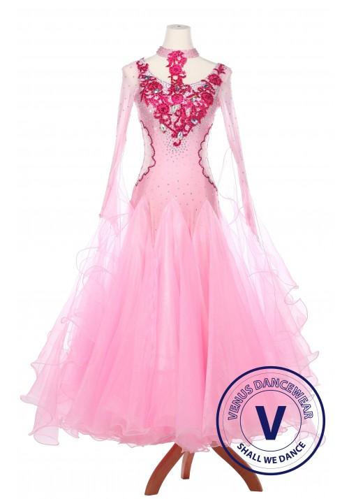 Pink Dragon Women Ballroom Smooth Waltz Standard Competition Dress