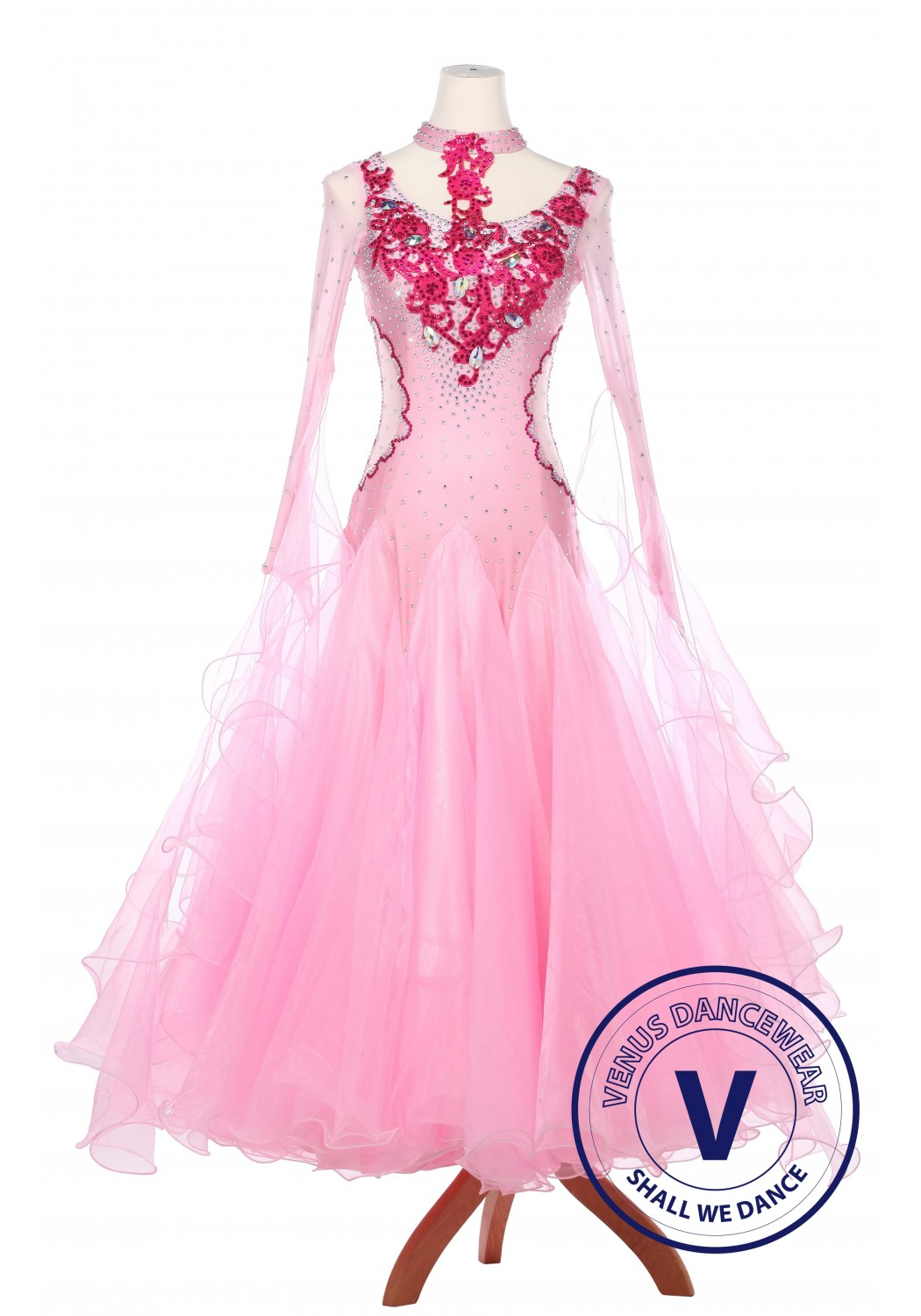 Pink Dragon Women Ballroom Smooth Waltz Standard Competition Dress