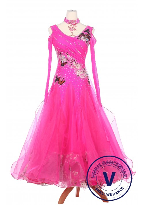 Pink Butterfly Lady Smooth Foxtrot Waltz Standard Competition Ballroom Dress
