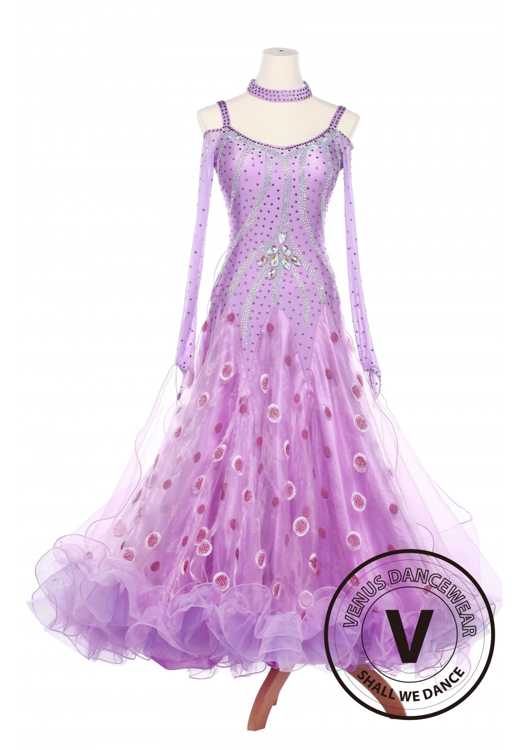 Lavender Fairy Smooth Foxtrot Waltz Ballroom Standard Competition Women Dress