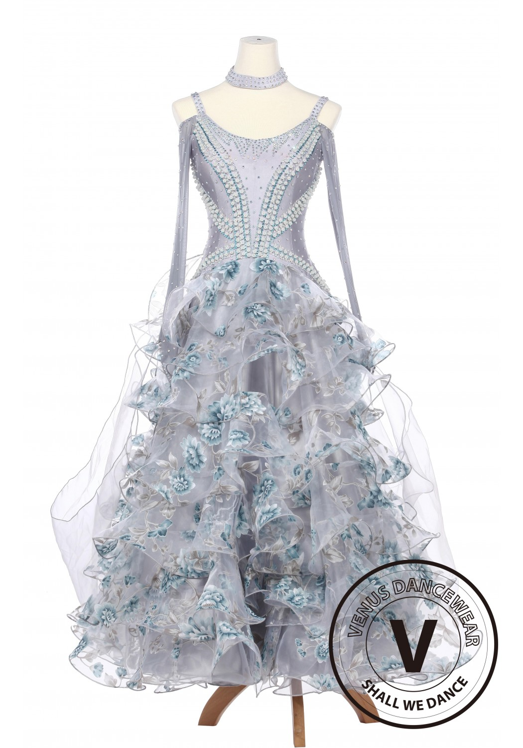 Silver Daffodils Waltz Foxtrot Standard Smooth Competition Ballroom Gown with Pearl