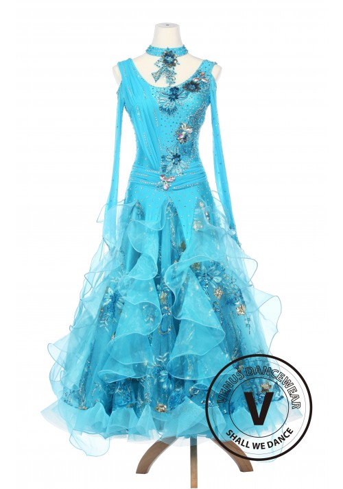 Light Blue Cornflower Smooth Waltz Ballroom Standard Dress Competition