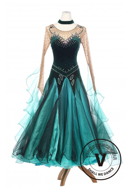 Forest Elf Queen Elegant Lady Standard Smooth Foxtron Waltz Competition Ballroom Dress