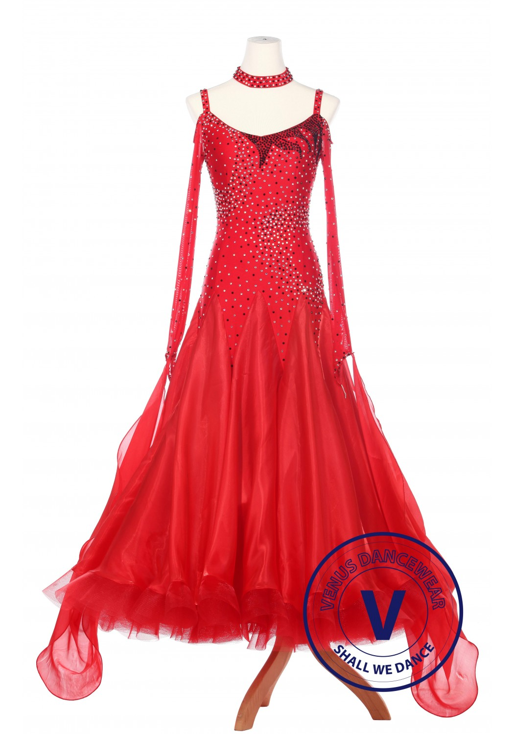 Red Fire Smooth Foxtrot Waltz Ballroom Standard Competition Women Dress